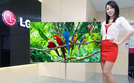 woman showcasing new lg television