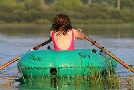 traveling water sports boat stock photo