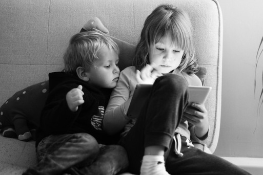 children with ipad flickr stock image