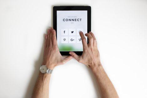 social media connect stock photo tech