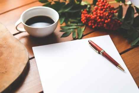 coffee-cup-desk-pen stock photo